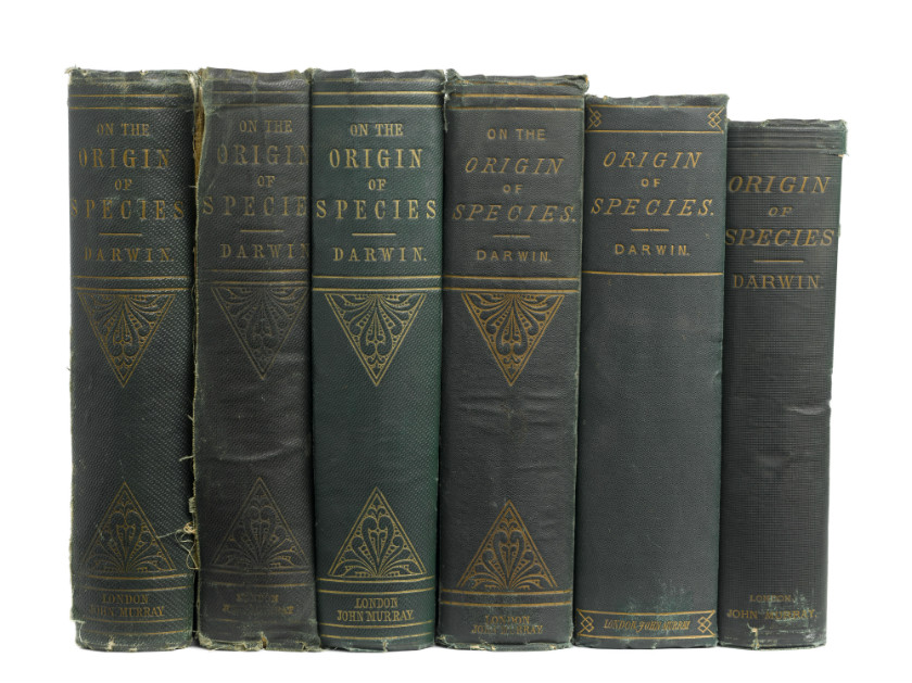 Six early editions of Darwin's On the Origin of Species